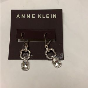NWT Anne Klein Crystal & Silver Pierced Earrings